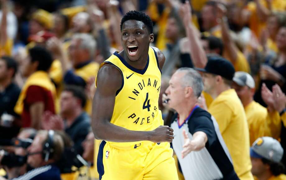 INDIANAPOLIS, IN - APRIL 27:  Victor Oladipo #4 of the Indiana Pacers celebrates against the Cleveland Cavaliers in Game Six of the Eastern Conference Quarterfinals during the 2018 NBA Playoffs  at Bankers Life Fieldhouse on April 27, 2018 in Indianapolis, Indiana. The Pacers 121-87.  NOTE TO USER: User expressly acknowledges and agrees that, by downloading and or using this photograph, User is consenting to the terms and conditions of the Getty Images License Agreement.  (Photo by Andy Lyons/Getty Images) Photo: Andy Lyons/Getty Images
