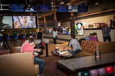 The bowling lanes at Crystal Bees, a floor above the performance area.