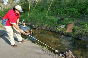 Salvador Rico, inspection supervisor with the Harris County Public Health and Environmental Services Mosquito Control Division, examines a roadside ditch near SH-288 and Old Spanish Trail for mosquito larva. Standing water could become breeding grounds for mosquitoes that transmit West nile virus, Zika virus and other diseases.