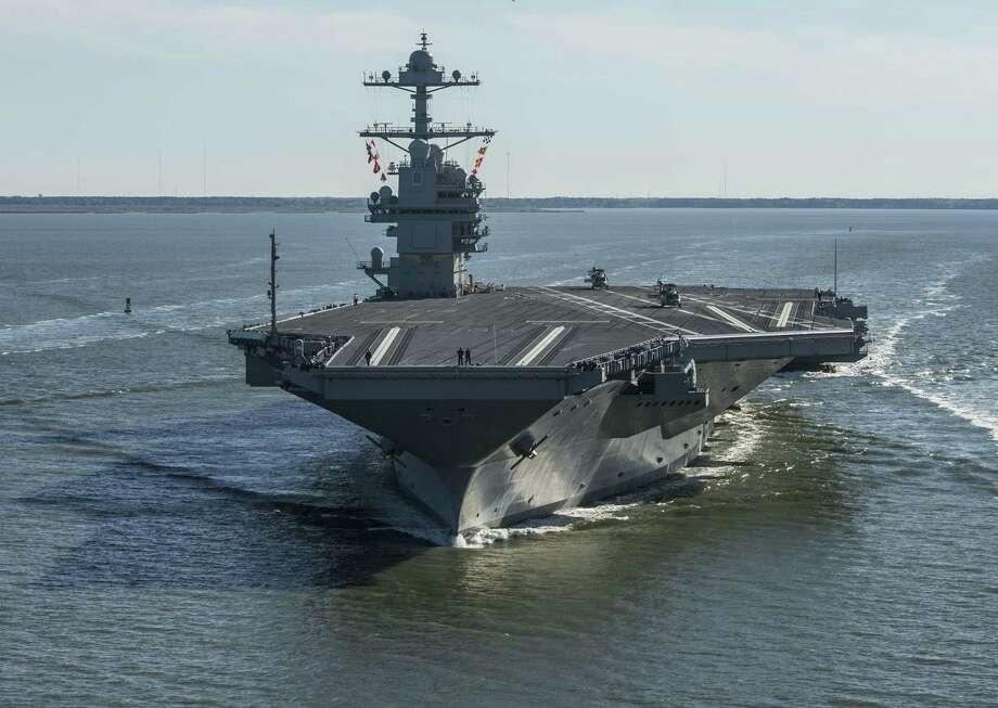 The USS Gerald R. Ford embarks on the first of its sea trials in 2017 to test various state-of-the-art systems on its own power for the first time, from Newport News, Va. However, Chinese innovations in artificial intelligence make such ships vulnerable. Photo: Mass Communication Specialist 2nd Class Ridge Leoni /Associated Press / Imagery Cleared for public release