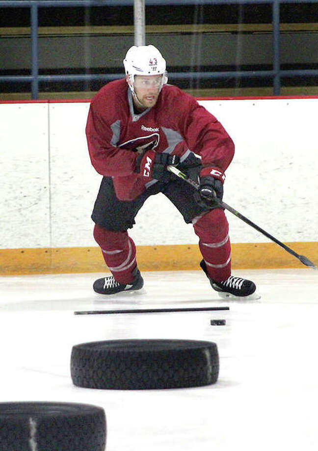 Dakota Mermis works out Monday at the East Alton Ice Arena. Mermis, an Alton High grad, plays in the Arizona Coyotes organization and last season split time between the Coyotes and their AHL affiliateTucson Roadrunners.