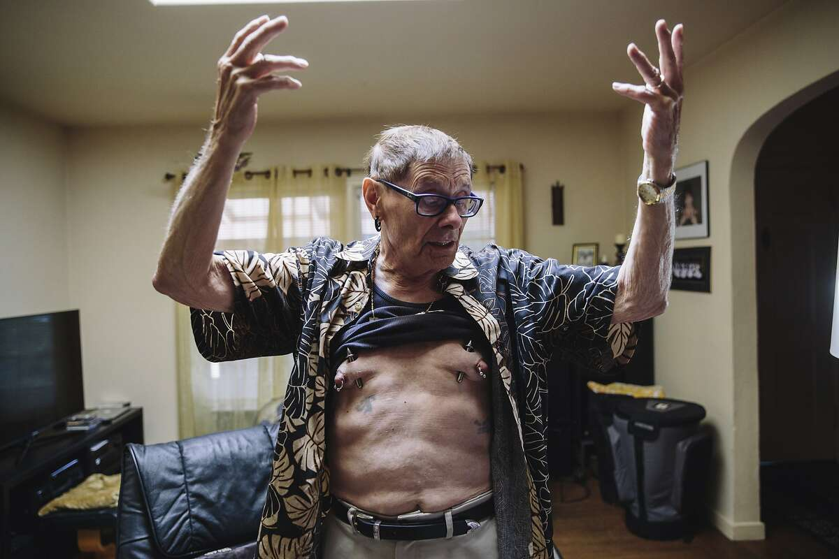 Fakir Musafar, a pioneer and teacher of body modification, displays his piercings at his home in Silicon Valley on Monday, Aug. 21, 2017.