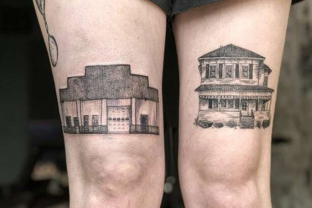 These tattoos of the grandparents' house and gas station tell a family story.