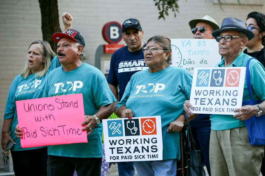 Members of Working Texans for Paid Sick Time rally in front of City Hall before the City Council meets to ratify signatures to get a proposed paid sick leave ordinance on the November ballot on Thursday, Aug. 2, 2018. Photo: Marvin Pfeiffer, Staff / San Antonio Express-News / Express-News 2018