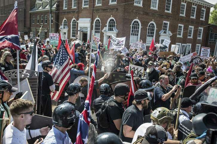 White supremacists clashed with counterprotestors in Charlottesville, Va., during the Unite the Right protest, Aug. 12, 2017.