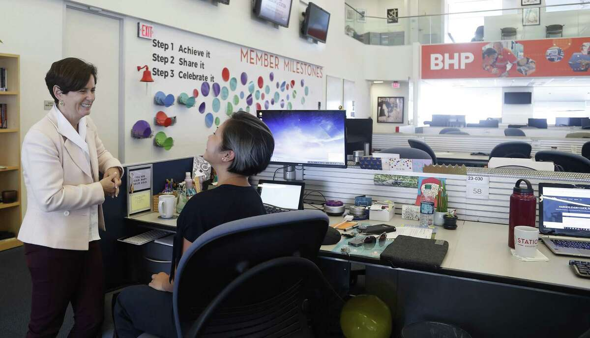 Station Houston CEO Gaby Rowe,left, chats with Grace Rodriguez in the Station Houston space, Tuesday, August 14, 2018, in Houston.