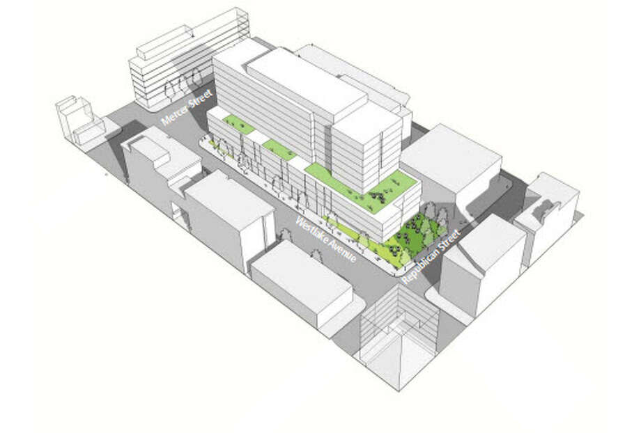 This architectural drawing shows the preferred plan for Google's planned office building along Westlake Avenue North. Photo: Seattle Design Review Board