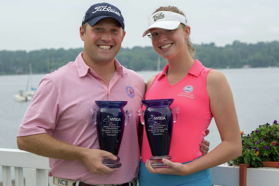 Nicolas Braman, left, of the Town of Colonie, and his cousin Madison Braman of Shaker Ridge won the New York State Mixed Team Amateur Championship on Monday, Aug. 13, 2018, at the Skaneateles Country Club. (Dan Thompson / NYSGA)