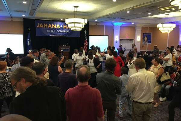 The dancing has begun in Waterbury as Jahana Hayes takes an early lead over Mary Glassman in the Democratic primary for Connecticut's 5th District on August 14, 2018.