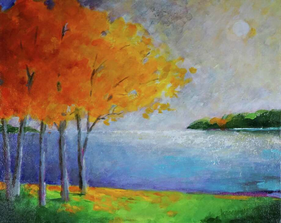 "The Sherman Library is presenting an exhibit of works by Herbert Kroeger through Aug. 22. Above is Kroeger's ""Yellow Maples on Lake,"" an acrylic on canvas. Photo: Courtesy Of Sherman Library / The News-Times Contributed"