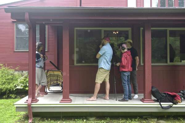Dillon Paul, left, is interviewed by Ben Willis, Maxfield Branson and Cole Branson. Students from a film studies program at Marvelwood School, in Kent, are making a short film for the National Park Service. Saturday, August 11, 2018, in Kent, Conn. Willis created the video exploration program.
