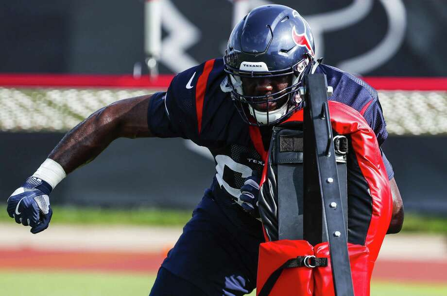 Houston Texans offensive tackle Roderick Johnson (63) hits a blocking sled during training camp at the Methodist Training Center on Tuesday, Aug. 14, 2018, in Houston. Photo: Brett Coomer, Staff Photographer / Houston Chronicle / © 2018 Houston Chronicle