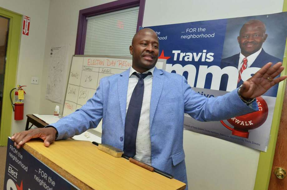 Travis Simms thanks his campaign workers, family and friends after claiming victory for the Democratic House of Representatives seat in the 140th district  on Tuesday August 14, 2018 in Norwalk Conn. Photo: Alex Von Kleydorff / Hearst Connecticut Media / Norwalk Hour