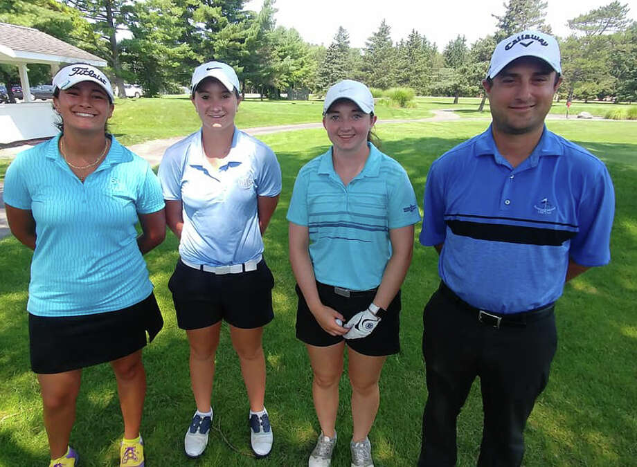 The winning pro and three female amateur team in the Northeastern New York PGA includes, from left: Isabella Diaz, Ballston Spa; Aly Hutchinson, Delmar; Lauran Rentz, East Greenbush and Bob Cain, PGA Teaching Professional at Saratoga National Golf Club. Photo: Provided