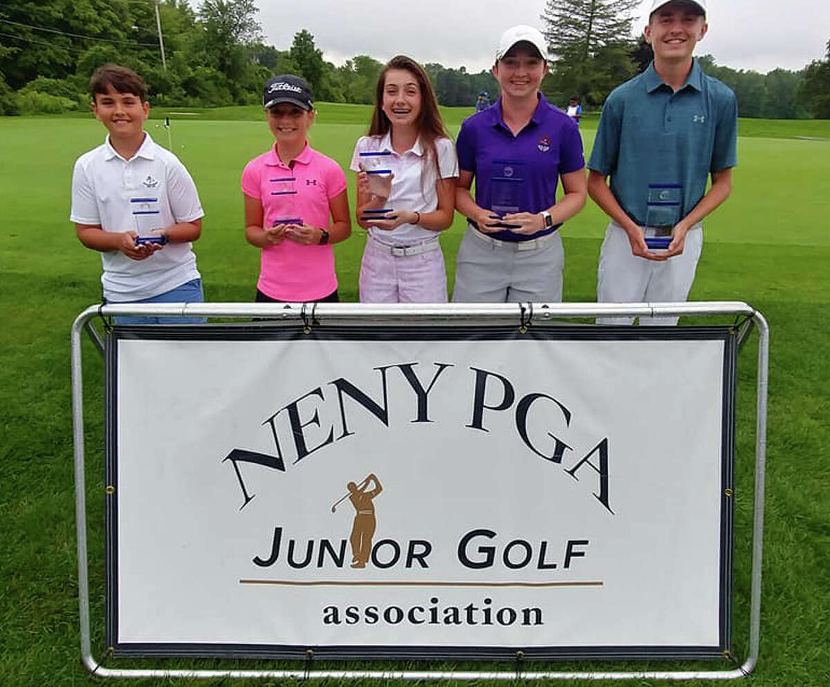 The 2018 NENY PGA Junior Golf Association Players of the Year are, from left, Kieran Cummins, Loudonville, (Boys 8-12); Kennedy Swedick, Voorheesville, (Girls 8-12); Nicole Criscone, Clifton Park, (Girls 13-15), Laura Rentz, East Greenbush, NY (Girls 16-18); Paul Goetz III, Clifton Park (Boys 16-18). Missing from the photo is Nick Lyons, Loudonville, NY (Boys 13-15)