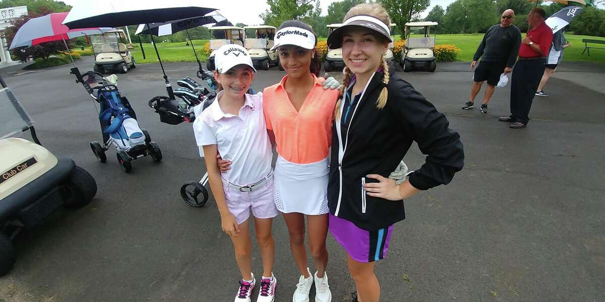 Competitors in the girls 13-15 age division for the Northeastern NY PGA Junior Golf Association championship are, from left, Nicole Criscone, Clifton Park; Megna Naidu, Albany, and Grace Kochan of Scotia.