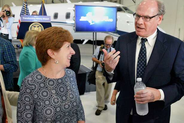 Albany Mayor Kathy Sheehan, left, and Empire State Development President, CEO and Commissioner Howard Zemsky during the announcement of a $72 million investment in the Capital Region that will connect I-87 motorists directly with Albany Airport via Exit 4, a new parking garage and other improvements during a news conference Tuesday August 14, 2018 in Colonie, NY. (John Carl D'Annibale/Times Union)