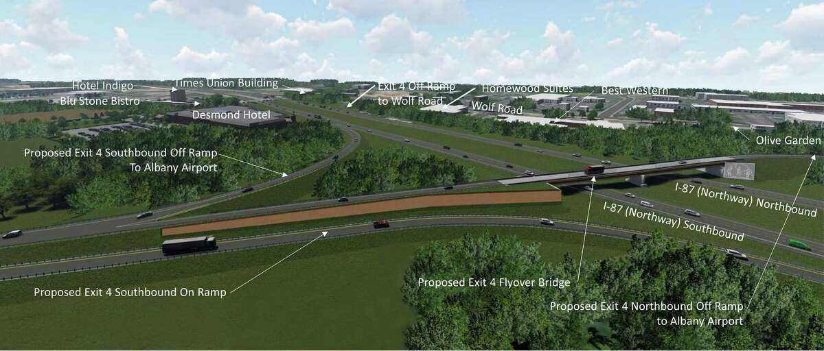 Renderings of the proposed connection to Albany International Airport from northbound at Exit 4 of I-87.