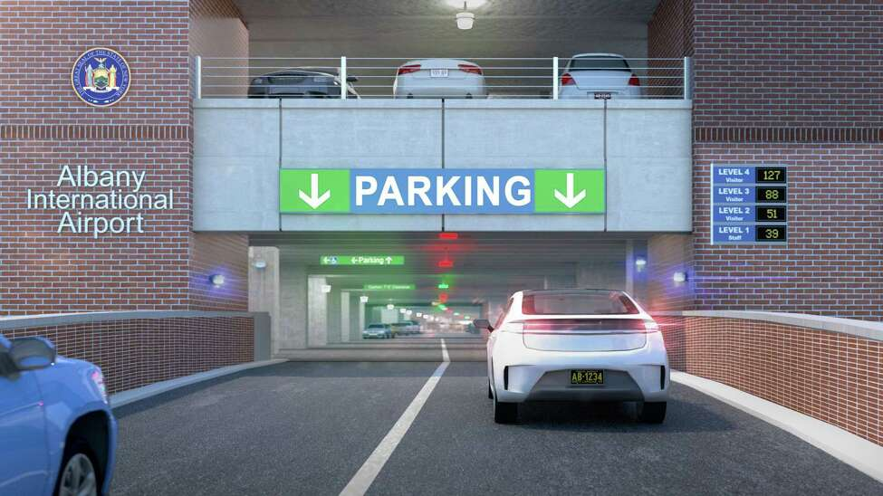Renderings of the proposed plans to upgrade the Albany International Airport parking garage.