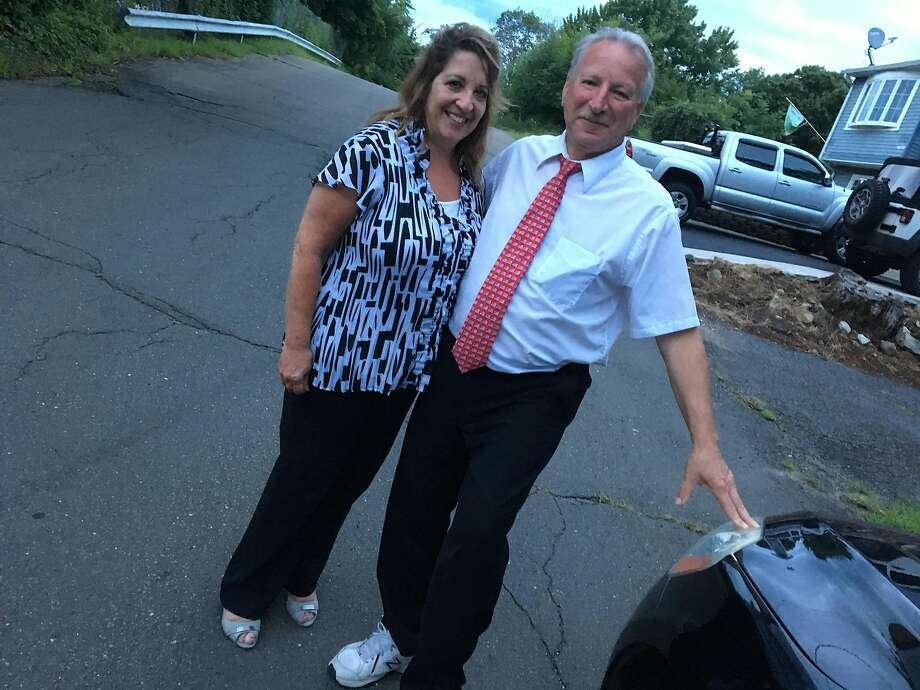 Republican Town Committee-endorsed City Councilman Richard DePalma poses with his campaign treasurer and girlfriend Cathy Vergati on Tuesday, Aug. 14, 2018, after defeating 18-year-old high school student Roman Khondker for the GOP 116th District nomination in a rare Republican primary in West Haven. Photo: Mark Zaretsky / Hearst Connecticut Media
