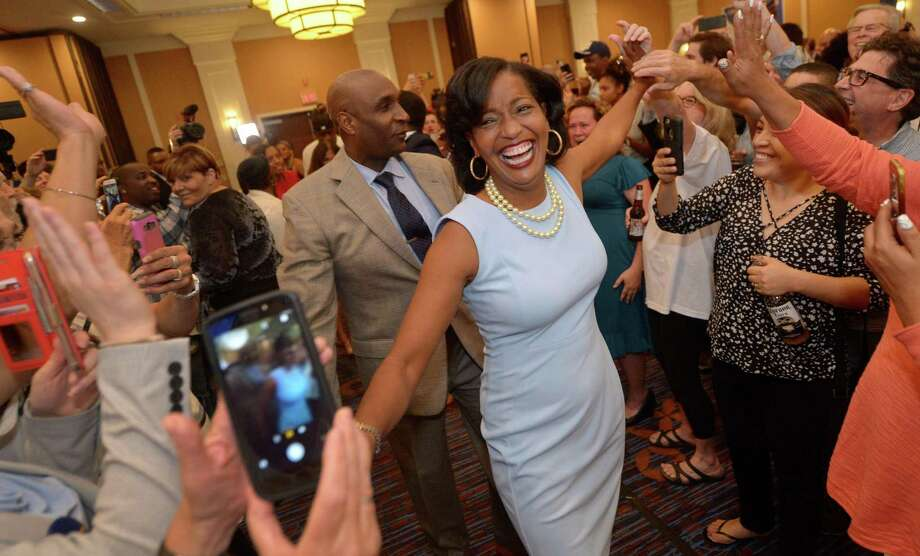 Jahana Hayes, Democratic candidate for the 5th District, arrives for primary election night Tuesday at the Courtyard by Marriott Ballroom in Waterbury. Photo: Erik Trautmann / Hearst Connecticut Media / Norwalk Hour
