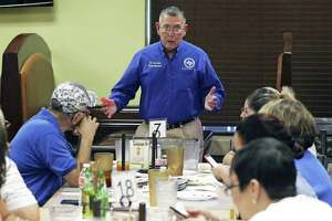 South San Superintendent Dr. Abelardo Saavedra delivers the news that voters had rejected the district's TRE to South San school district officials gathered at Taqueria Restaurant to hear election results Tuesday evening.