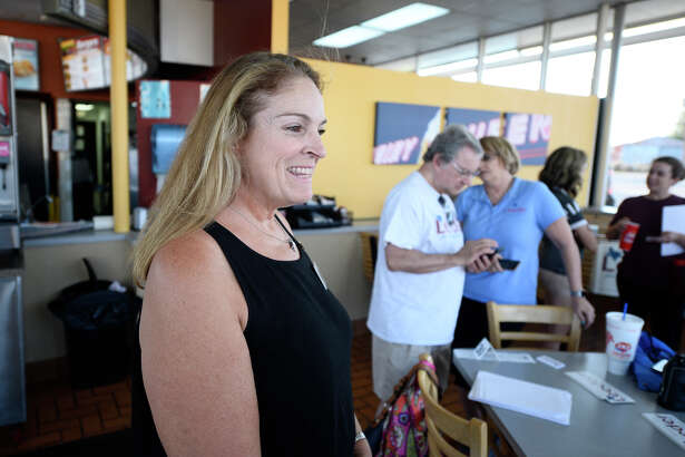 Jennie Lou Leeder meets with supporters during a campaign stop Aug. 14, 2018, at the Dairy Queen on South Big Spring Street in Midland. Leeder is running against current U.S. Senator Mike Conaway for the position. James Durbin/Reporter-Telegram