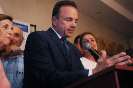 Democratic candidate for governor and Bridgeport Mayor Joe Ganim delivers his concession speech at Testo's Restaurant in Bridgeport, Conn on Tuesday, August 14, 2018.