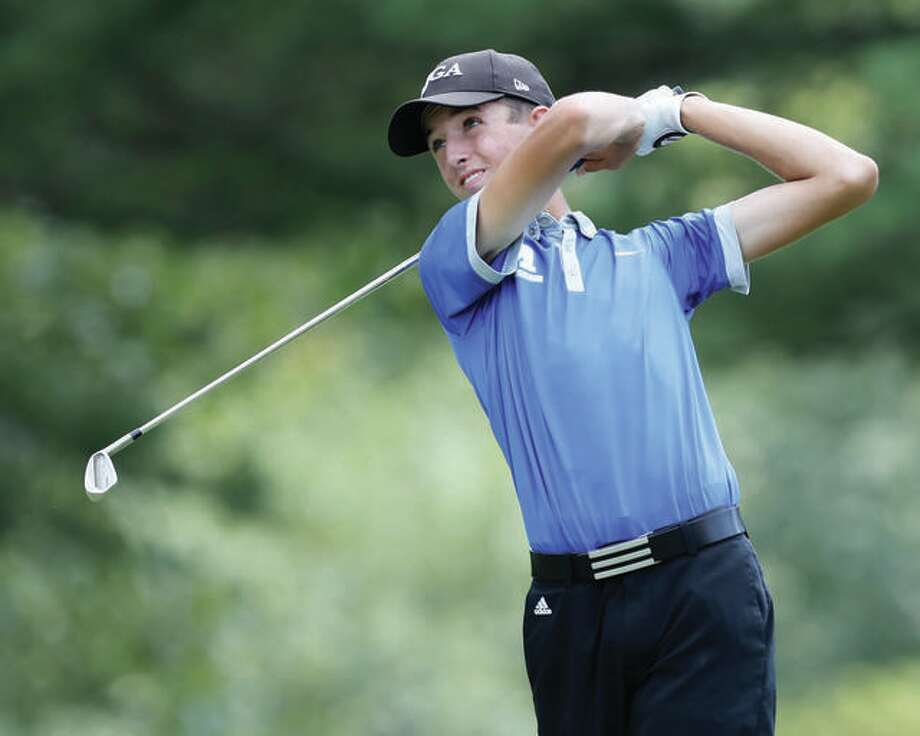 Marquette Catholic's Kolten Bauer fired a 3-under-par 75 Tuesday and finished second at the Redbird Invitational. He is shown in action last season. Photo:     Telegraph File Photo