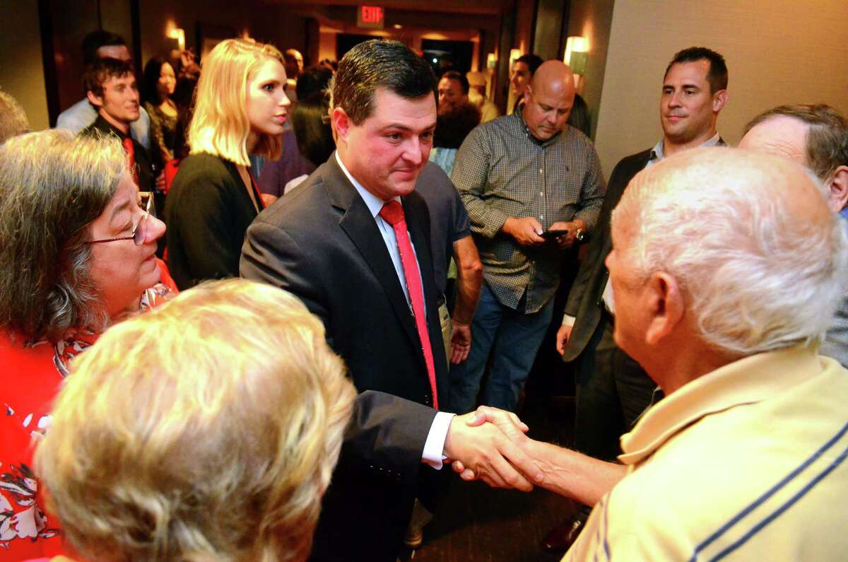 Republican candidate for governor Tim Herbst greets supporters after giving his concession speech at the Omni Hotel in New Haven, Conn. on Tuesday Aug. 14, 2018.