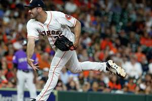 Houston Astros starting pitcher Justin Verlander (35) pitches during the third inning of an MLB game at Minute Maid Park, Tuesday, August 14, 2018, in Houston.