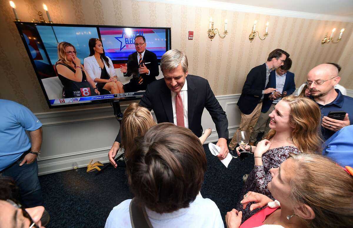 Republican gubernatorial candidate Bob Stefanowski greets supporters at the Madison Beach Hotel in Madison after winning the primary on August 14, 2018.