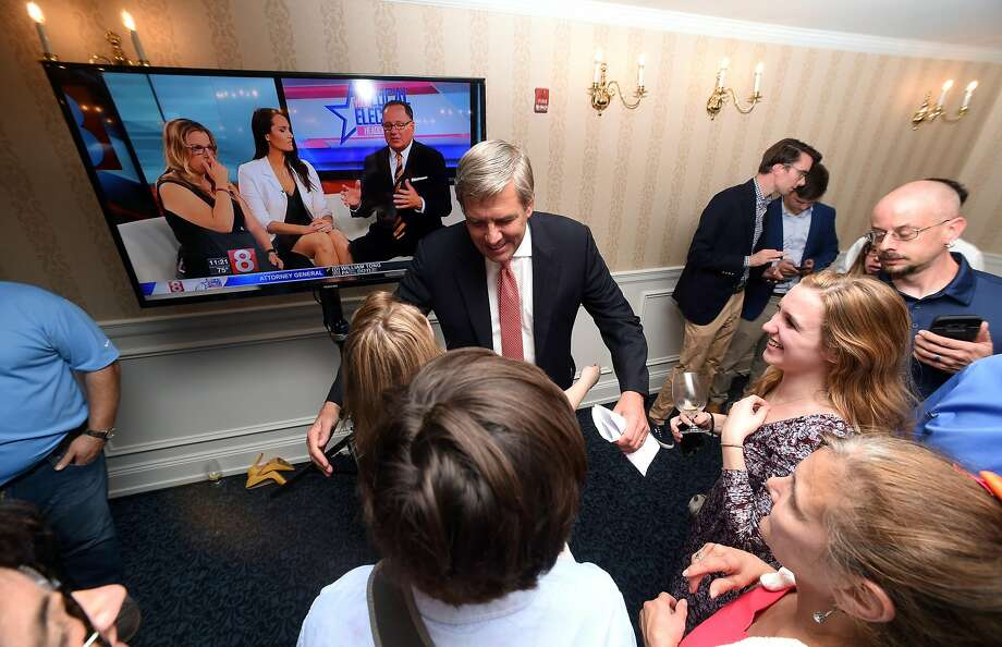 Republican gubernatorial candidate Bob Stefanowski greets supporters at the Madison Beach Hotel in Madison after winning the primary on August 14, 2018. Photo: Arnold Gold, Hearst Connecticut Media