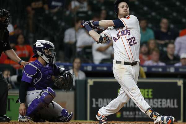 Josh Reddick (22) of the Houston Astros strikes out to end a MLB game at Minute Maid Park, Tuesday, August 14, 2018, in Houston.