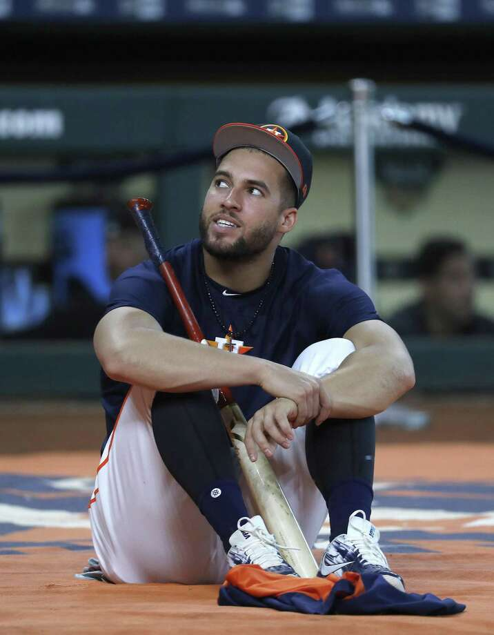Houston Astros George Springer during batting practice before the start of an MLB game at Minute Maid Park, Tuesday, August 14, 2018, in Houston. Photo: Karen Warren, Staff Photographer / Houston Chronicle / © 2018 Houston Chronicle