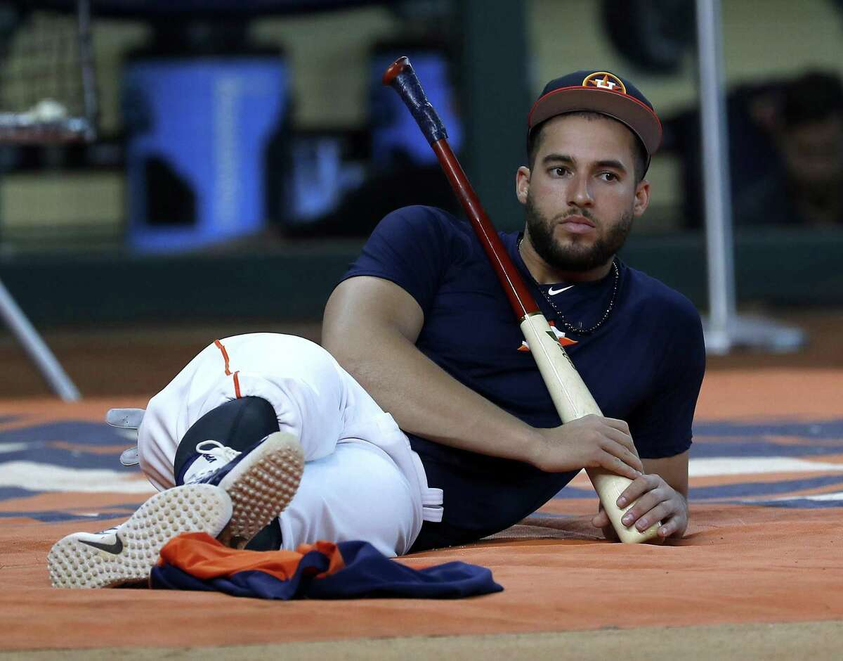 PHOTOS: Aug. 14 - Astros vs. Rockies  Houston Astros George Springer during batting practice before the start of an MLB game at Minute Maid Park, Tuesday, August 14, 2018, in Houston.  >>>See photos of the Astros in action vs. the Rockies on Tuesday, Aug. 14 ...