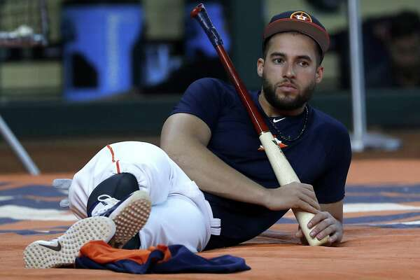 Houston Astros George Springer during batting practice before the start of an MLB game at Minute Maid Park, Tuesday, August 14, 2018, in Houston.