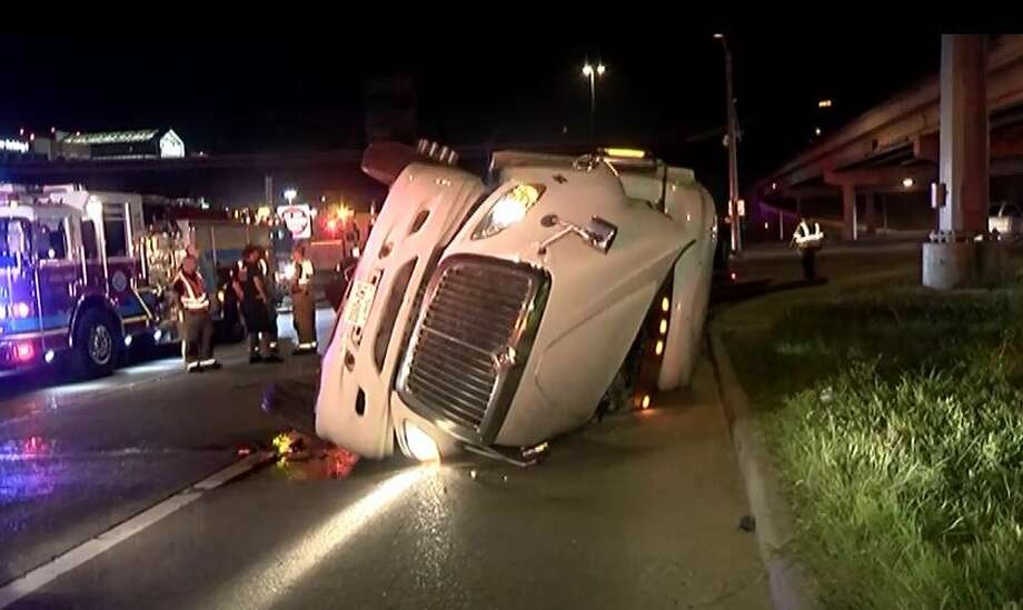 An 18-wheeler overturned early Wednesday in Montgomery County. Photo: Scott Engle / Montgomery County Police Reporter