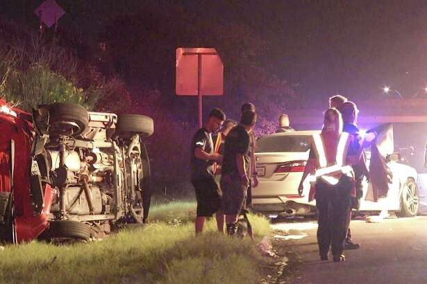 A pickup truck and a sedan collided just before 2:40 a.m. Aug. 15, 2018, near Loop 1604 and Lockhill Selma Road. The collision caused the truck to rollover and the sedan to catch fire.