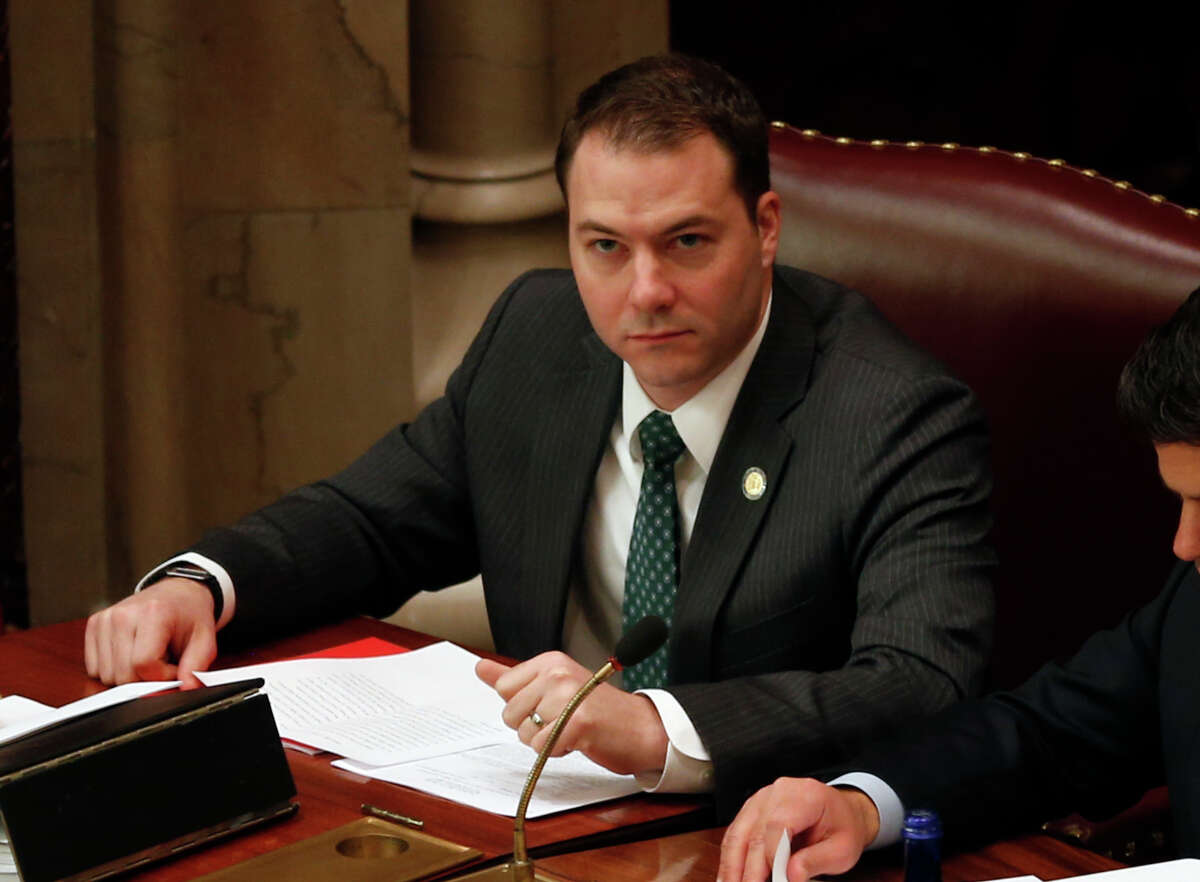 This photo from Tuesday, March 17, 2015, shows Sen. Robert Ortt, R-Lockport, in the Senate Chamber at the State Capitol in Albany, N.Y. Several local Republicans, including Ortt, have stepped forward to run for Chris Collins' Congressional seat after the Republican said he won't run for re-election in the face of insider trading charges.