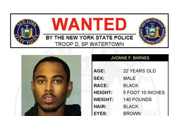 Jvonne F. Barnes, 22, is wanted by State Police on a bench warrant issued May 24, 2018, by Watertown City Court. Barnes is wanted for failure to appear in court for an October 2017 arrest for unlawfully using a credit card to withdraw $500 from Northern FCU. He was charged with petit larceny.