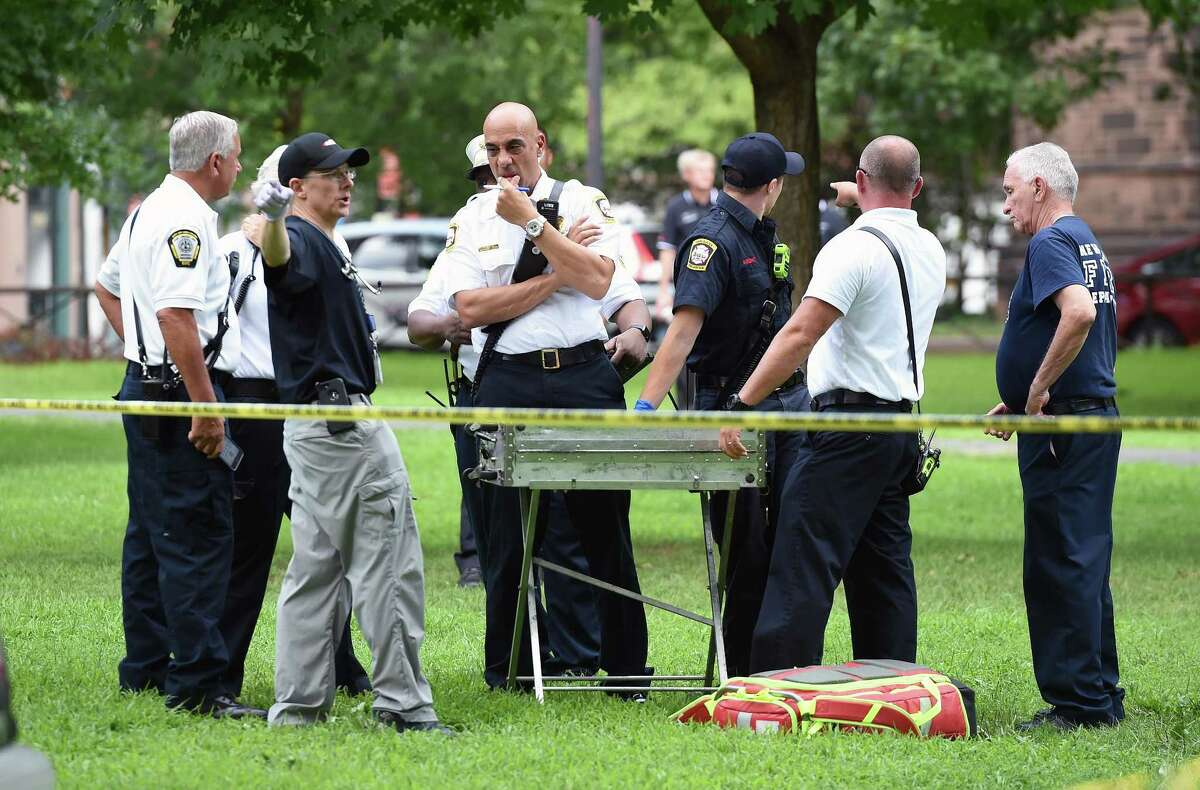 Emergency personnel respond to overdose cases on the New Haven Green on August 15, 2018.