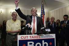 Connecticut gubernatorial candidate Bob Stefanowski celebrates after defeating four other contenders in the Republican Primary, in Madison, Conn., Tuesday, Aug. 14, 2018. (AP Photo/Jessica Hill)