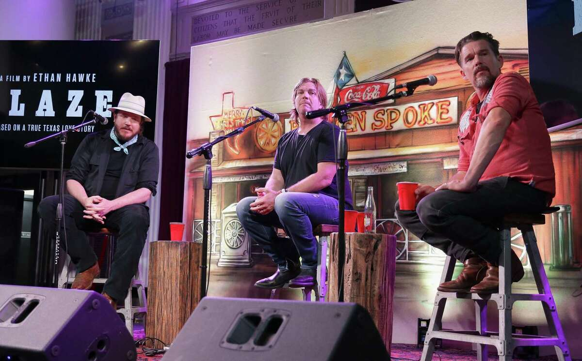 """Ben Dickey, Jack Ingram and Ethan Hawke answer questions during the Sundance Selects Presents Ethan Hawke's """"Blaze"""" at Rockefellers in Houston."""