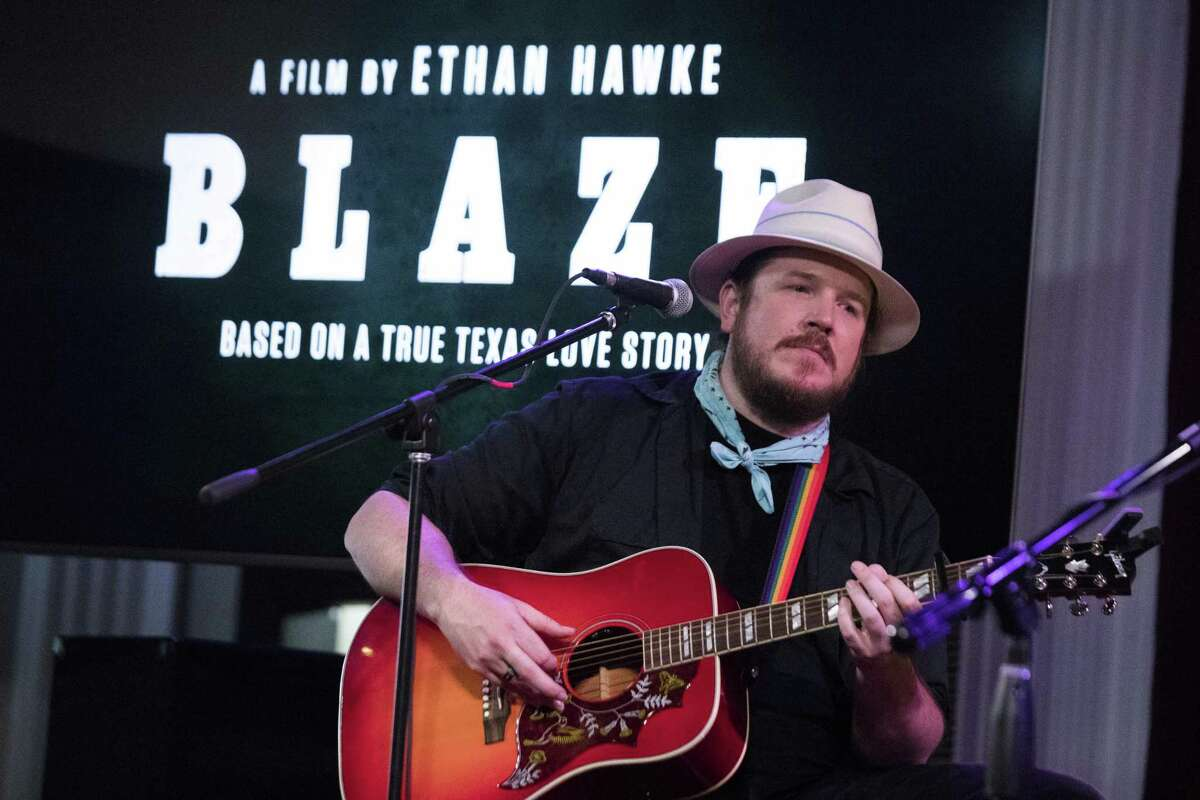"""""""Blaze"""" actor Ben Dickey performs a set of songs from the film """"Blaze"""" in Houston."""