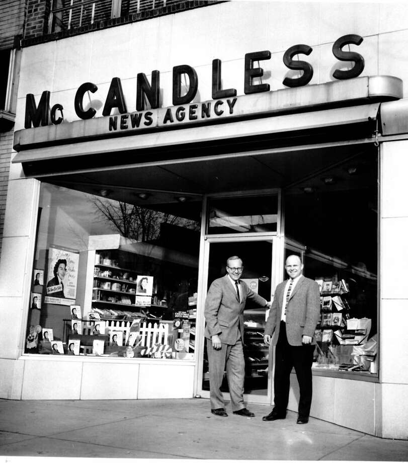 McCandless News Agency, 219 E. Main St. Jack McCandless (right) and Bob Brines. unknown date (The Daily News is located here now.) Photo: Daily News File Photo