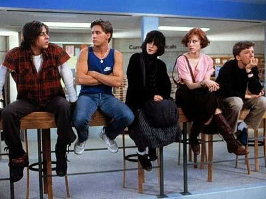 """""""The Breakfast Club"""" (1985) The John Hughes classic shows five high school students (portrayed by Judd Nelson, Emilio Estevez, Ally Sheedy, Molly Ringwald and Anthony Michael Hall) as they learn more about each other in a Saturday detention. Photo: Universal Studios"""