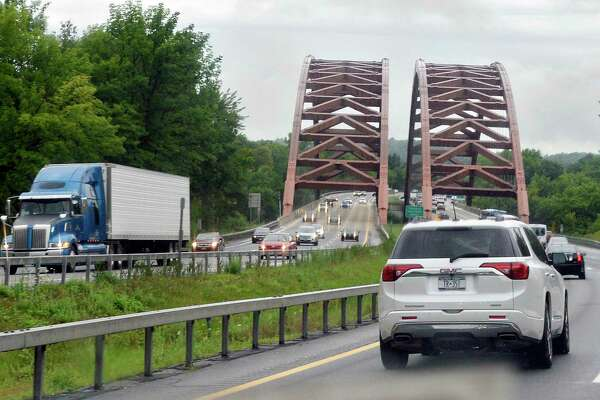 """Northbound traffic approaches the Thaddeus Kosciusko Bridge, commonly referred to as the Twin Bridges, or just """"The Twins"""" on the Northway Friday August 3, 2018 in Clifton Park, NY. (John Carl D'Annibale/Times Union)"""