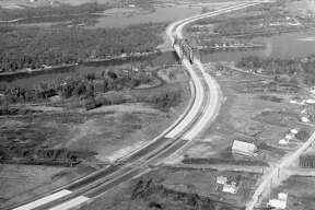 Construction of the Northway, showing the Thaddeus Kosciusko Bridge, late 1950s.