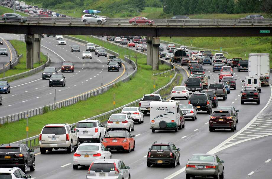 A snarl of traffic crawls northward at Exit 6 during rush hour on the Northway in Colonie.  (John Carl D'Annibale/Times Union) Photo: John Carl D'Annibale/Times Union / 20044489A